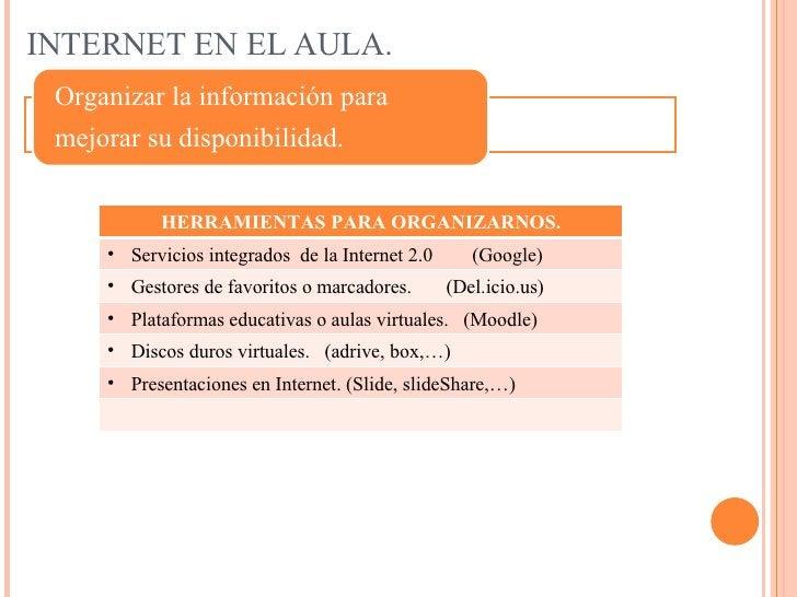 INTERNET EN EL AULA. Organizar la información para mejorar su disponibilidad. HERRAMIENTAS PARA ORGANIZARNOS. <ul><li>Serv...