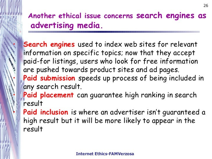 internet ethics 1 definitions the commonly accepted definition of internet research ethics (ire) has been used by buchanan and ess (2008, 2009), buchanan (2010), and ess & association of internet researchers (aoir) (2002).