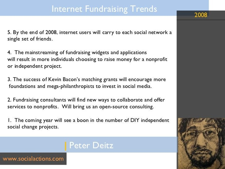 |  Peter Deitz www.socialactions.com 5. By the end of 2008, internet users will carry to each social network a  single set...