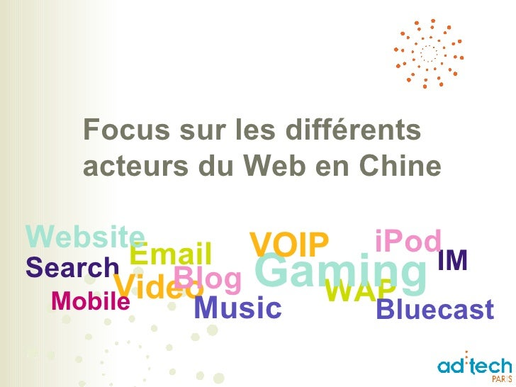 Focus sur les différents acteurs du Web en Chine Search Video Music WAP Bluecast Gaming Blog Mobile IM Email iPod VOIP Web...