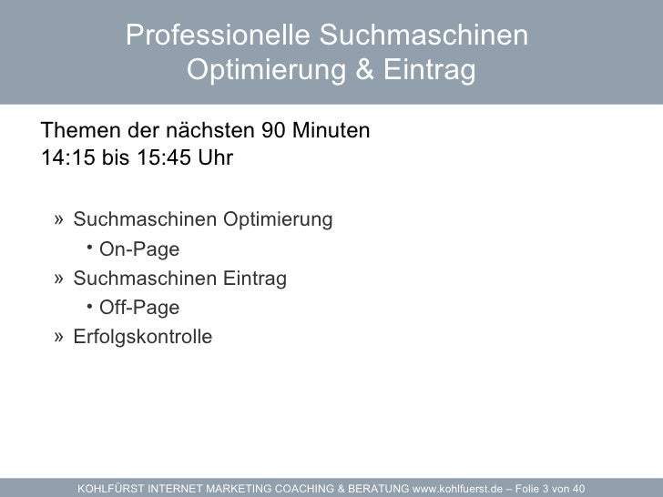 Internet Marketing Vorlesung - WIFI Salzburg Werbedesign Akademie - Dozent Michael Kohlfürst Slide 3