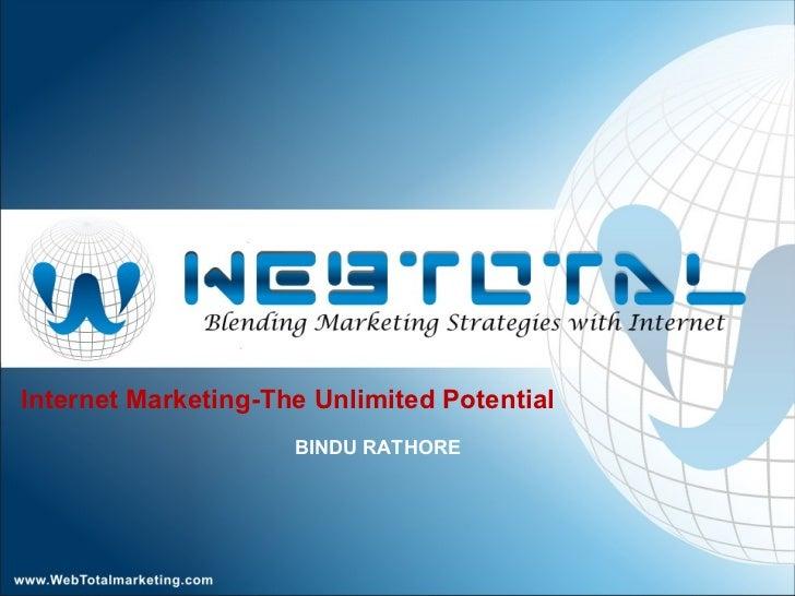 Internet Marketing-The Unlimited Potential BINDU RATHORE