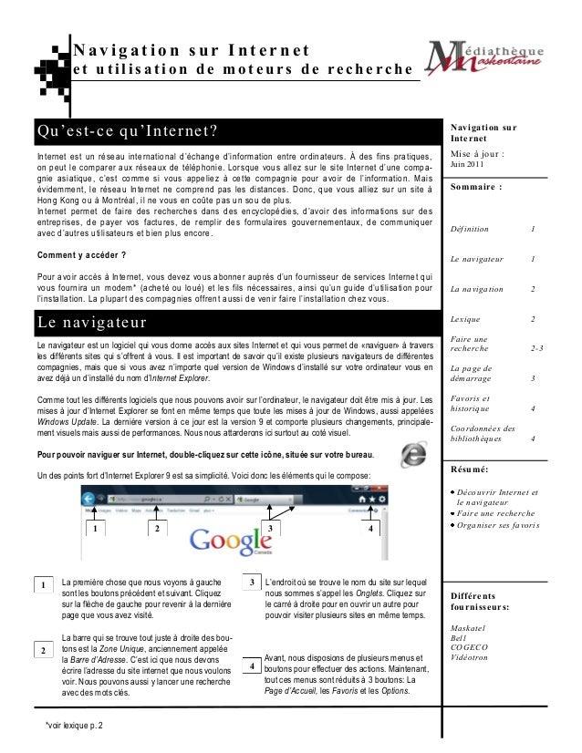 Navigation sur Internet          et utilisation de moteurs de rechercheQ u'est -ce qu 'I nterne t ?                       ...
