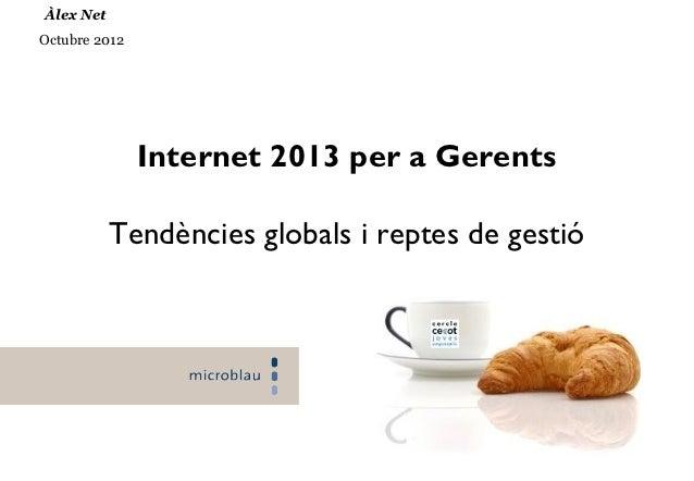 Àlex NetOctubre 2012               Internet 2013 per a Gerents           Tendències globals i reptes de gestió