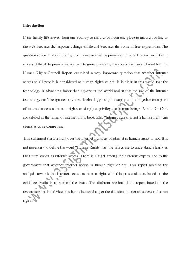 internet access human right essay sample from assignmentsupport com e  internet access is a human right report submitted by student university 2