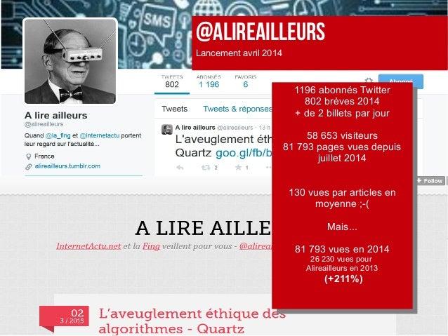 @ALIREAILLEURS Lancement avril 2014 1196 abonnés Twitter 802 brèves 2014 + de 2 billets par jour 58 653 visiteurs 81 793 p...
