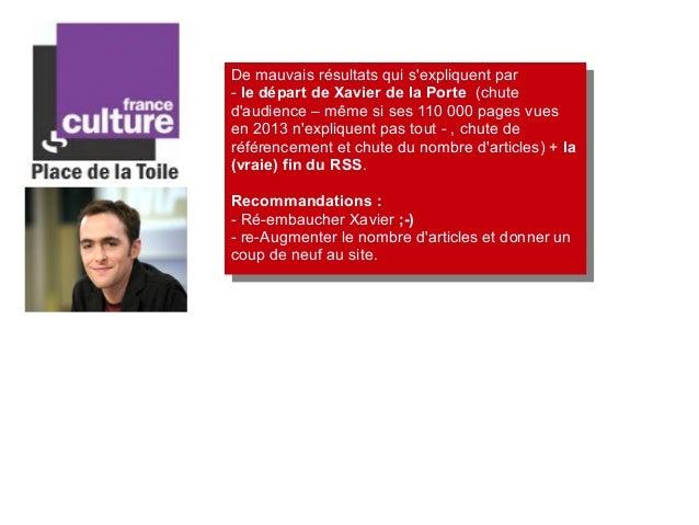 De mauvais résultats qui s'expliquent par - le départ de Xavier de la Porte (chute d'audience – même si ses 110 000 pages ...