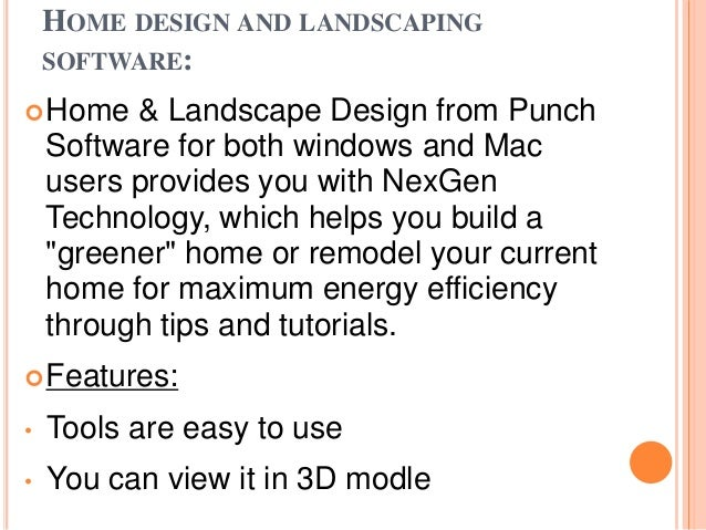 Internet application for Nexgen home and landscape design