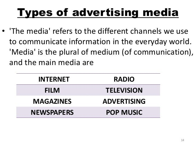 radio and television mediums of advertising Companies use radio advertising to promote products or services over the radio, typically in 30 or 60 second spots radio can be more expensive than some newer advertising methods, but it is a very strong medium, reaching 93% of american adults weekly according to nielsen data.