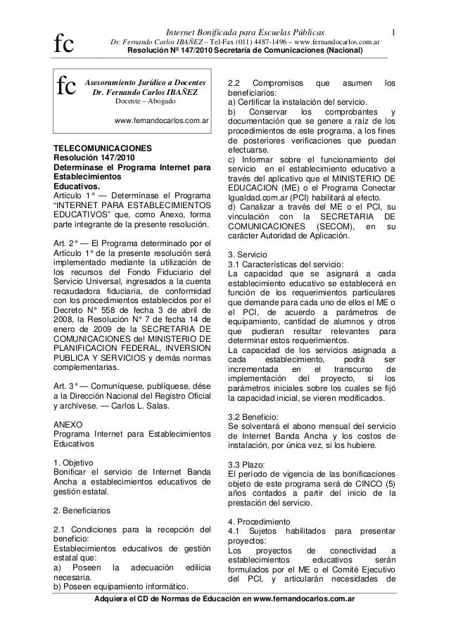 fc Internet Bonificada para Escuelas Públicas Dr. Fernando Carlos IBAÑEZ – Tel-Fax (011) 4487-1496 – www.fernandocarlos.co...