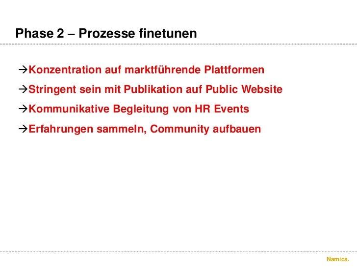 Phase 2 –Prozessefinetunen.<br />Konzentration auf marktführendePlattformen<br />Stringent seinmitPublikation auf Public W...