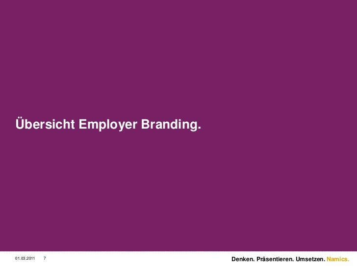 Übersicht Employer Branding.<br />3/2/11<br />7<br />Denken. Präsentieren. Umsetzen.<br />