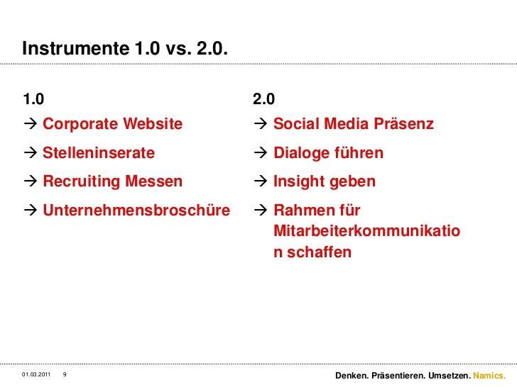 Instrumente 1.0 vs. 2.0.<br />1.0<br />Corporate Website<br />Stelleninserate<br />Recruiting Messen<br />Unternehmensbros...