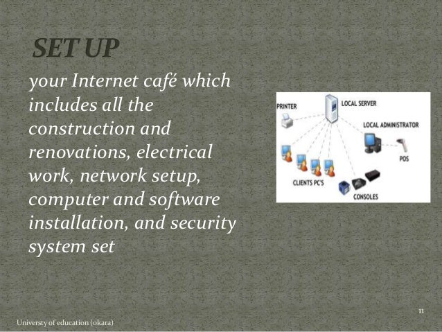 feasibility study on internet cafe Research the feasibility of your plan investigate the area in which you hope to open your café look specifically at the demand for an internet café and competitors in the area make a rough estimate of how much money you will require as an initial investment for computer equipment, furniture, software and amenities.