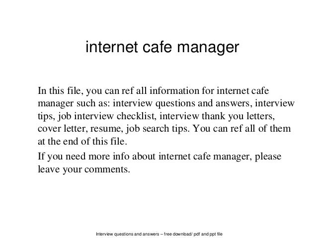 Interview Questions And Answers U2013 Free Download/ Pdf And Ppt File Internet  Cafe Manager In ...