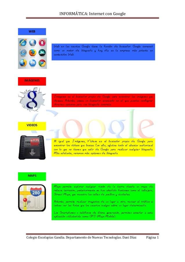 INFORMÁTICA: Internet con Google Colegio Escolapias Gandia. Departamento de Nuevas Tecnologías. Dani Díaz Página 1 Web en ...