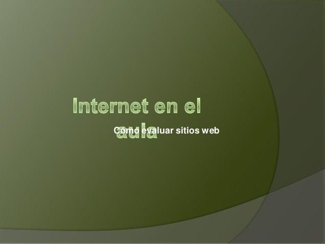 Cómo evaluar sitios web