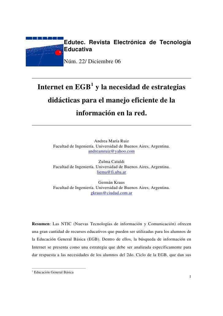 Edutec. Revista Electrónica de Tecnología                       Educativa                        Núm. 22/ Diciembre 06    ...