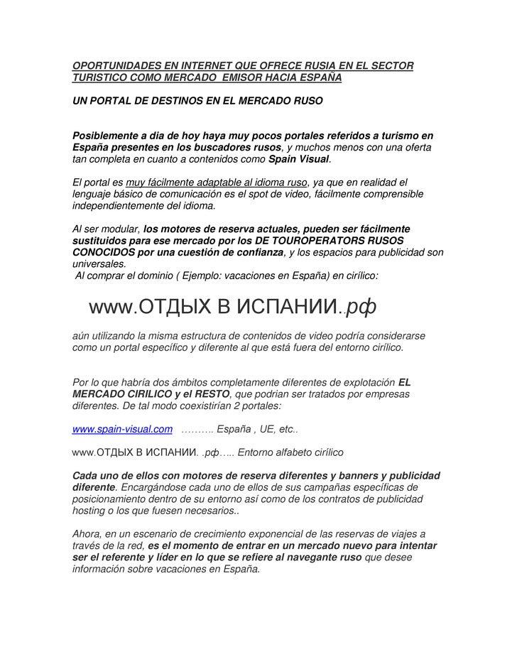 OPORTUNIDADES EN INTERNET QUE OFRECE RUSIA EN EL SECTORTURISTICO COMO MERCADO EMISOR HACIA ESPAÑAUN PORTAL DE DESTINOS EN ...