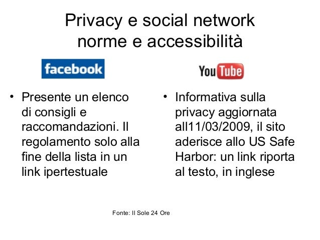 Privacy e social network norme e accessibilità • Presente un elenco di consigli e raccomandazioni. Il regolamento solo all...