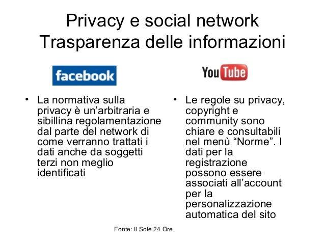 Privacy e social network Trasparenza delle informazioni • La normativa sulla privacy è un'arbitraria e sibillina regolamen...