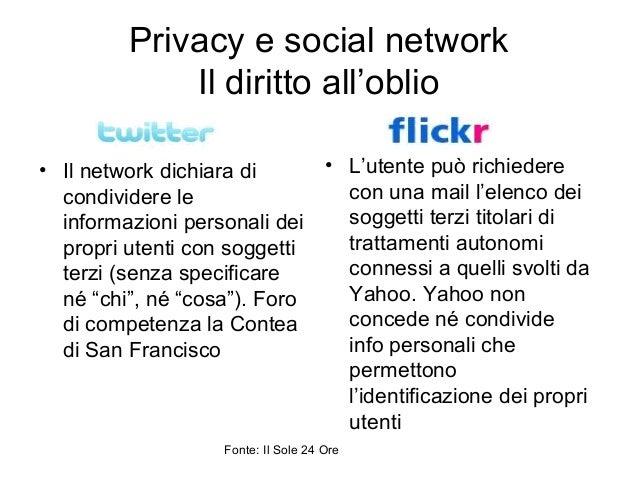 Privacy e social network Il diritto all'oblio • Il network dichiara di condividere le informazioni personali dei propri ut...