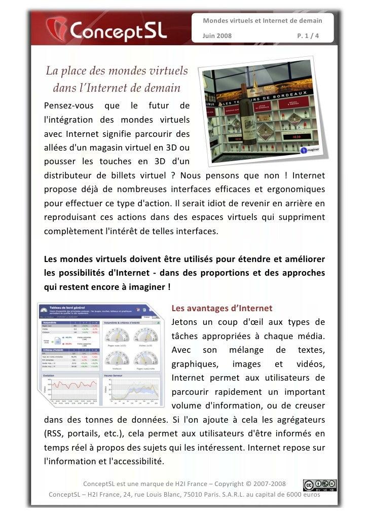 Mondes virtuels et Internet de demain                                                     Juin 2008                       ...