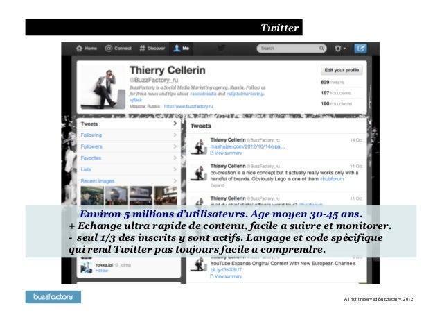 Twitter   Environ 5 millions d'utilisateurs. Age moyen 30-45 ans.+ Echange ultra rapide de contenu, facile a suivre et mon...
