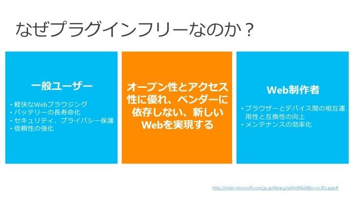なぜプラグインフリーなのか?   一般ユーザー                                       Web制作者• 軽快なWebブラウジング                                   • ブラウ...