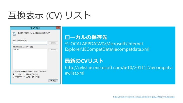 互換表示 (CV) リスト        ローカルの保存先        %LOCALAPPDATA%MicrosoftInternet        ExplorerIECompatDataiecompatdata.xml        最新...