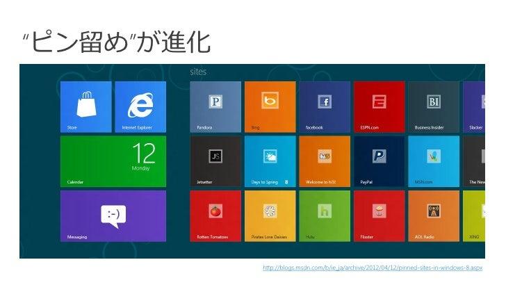 """""""ピン留め""""が進化            http://blogs.msdn.com/b/ie_ja/archive/2012/04/12/pinned-sites-in-windows-8.aspx"""
