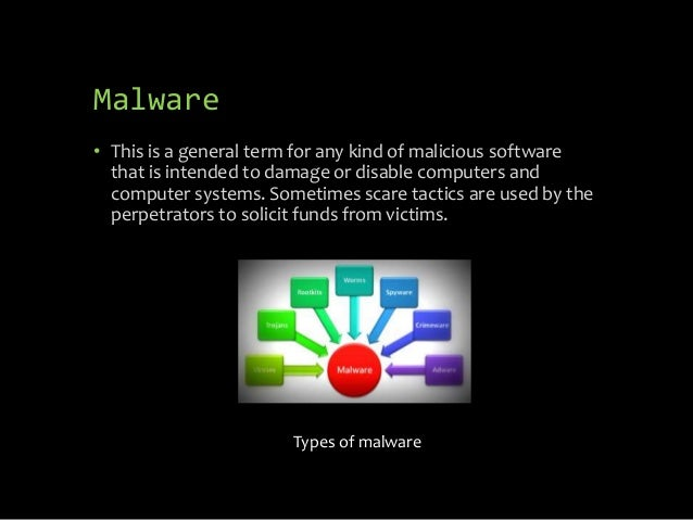 Malware • This is a general term for any kind of malicious software that is intended to damage or disable computers and co...
