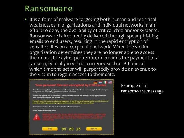 Ransomware • It is a form of malware targeting both human and technical weaknesses in organizations and individual network...
