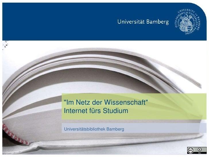 """""""Im Netz der Wissenschaft""""                                 Internet fürs Studium                                 Universit..."""
