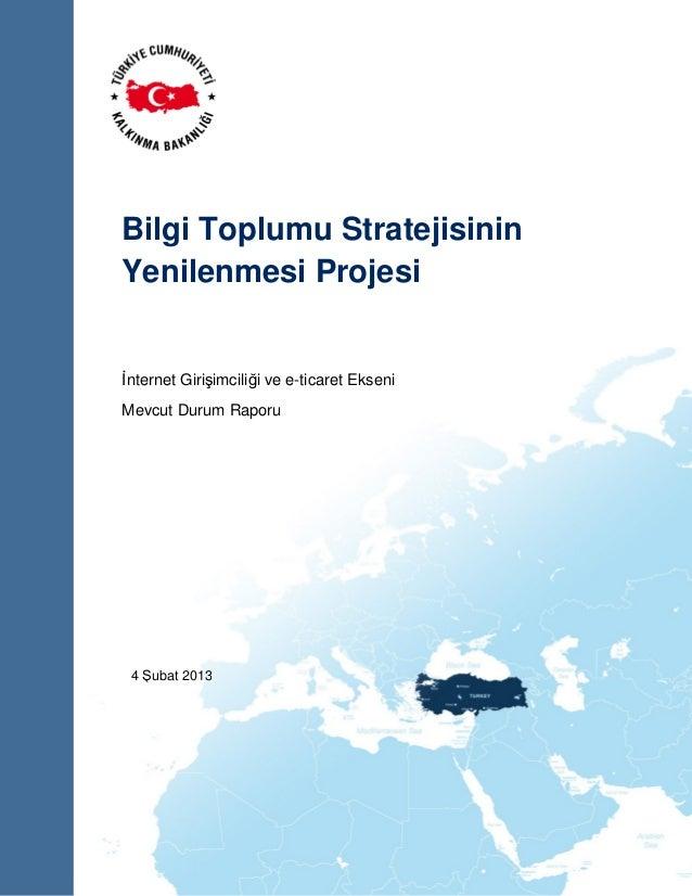Bilgi Toplumu Stratejisinin Yenilenmesi Projesi  İnternet Girişimciliği ve e-ticaret Ekseni Mevcut Durum Raporu  4 Şubat 2...