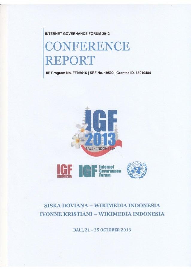 Internet Governance Forum 2013 IIEF report