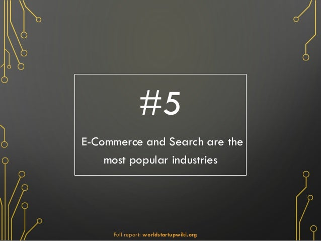 #5 E-Commerce and Search are the most popular industries Full report: worldstartupwiki.org