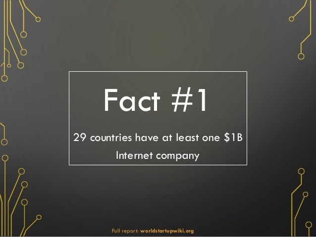 Fact #1 29 countries have at least one $1B Internet company Full report: worldstartupwiki.org