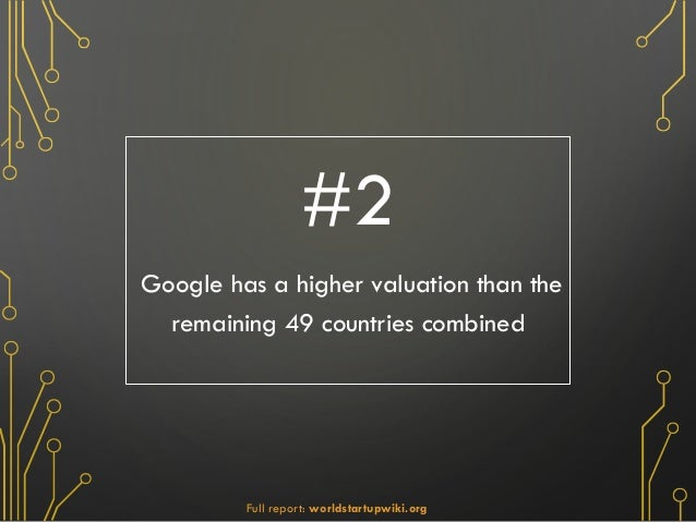 #2 Google has a higher valuation than the remaining 49 countries combined Full report: worldstartupwiki.org