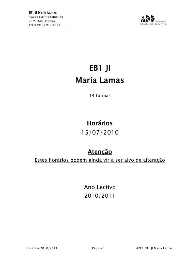 HORÁRIOS AEC 2010/2011