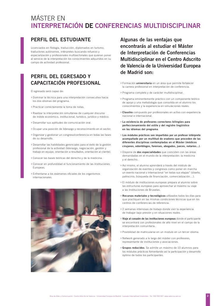 Master en interpretaci n de conferencias multidisciplinar for Universidad de valencia master