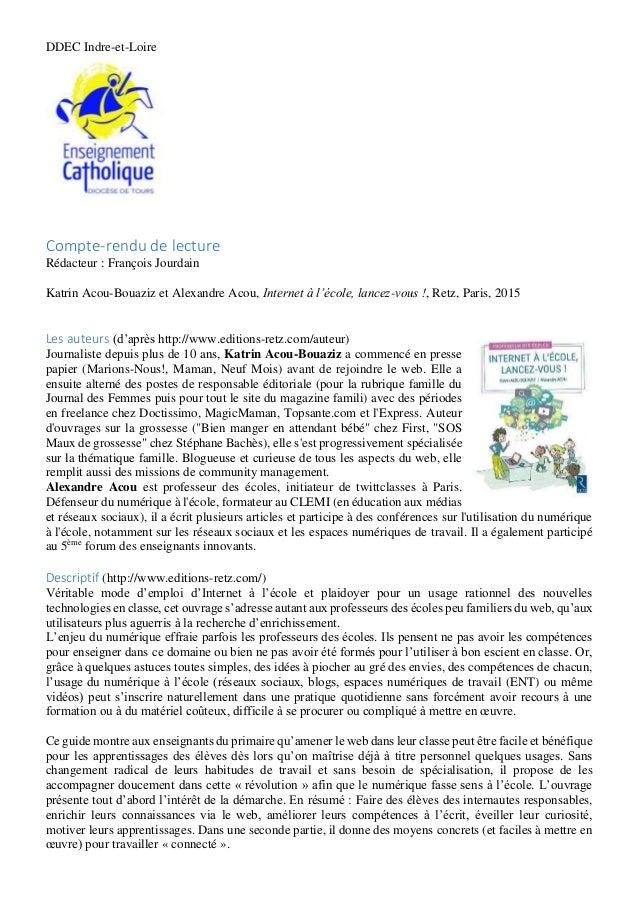 DDEC Indre-et-Loire Compte-rendu de lecture Rédacteur : François Jourdain Katrin Acou-Bouaziz et Alexandre Acou, Internet ...