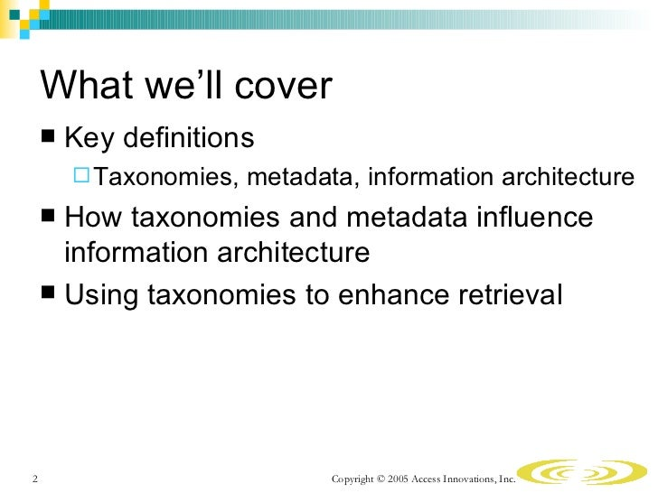 Taxonomies and Metadata in Information Architecture Slide 2