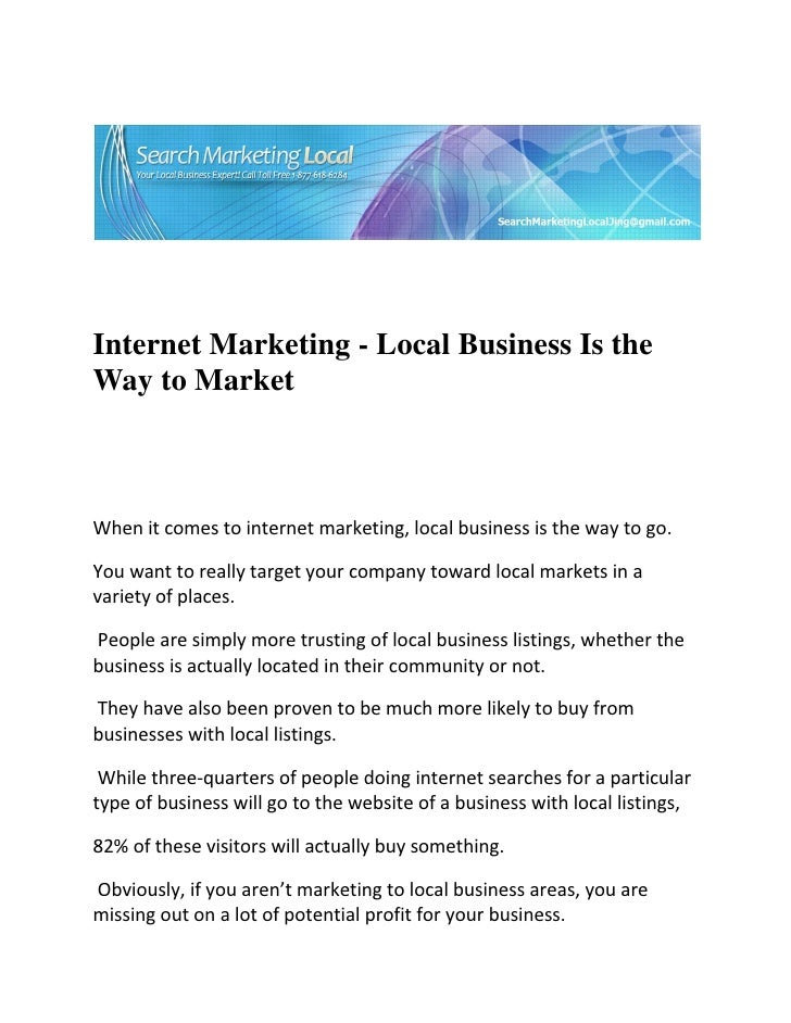 Internet Marketing - Local Business Is ...