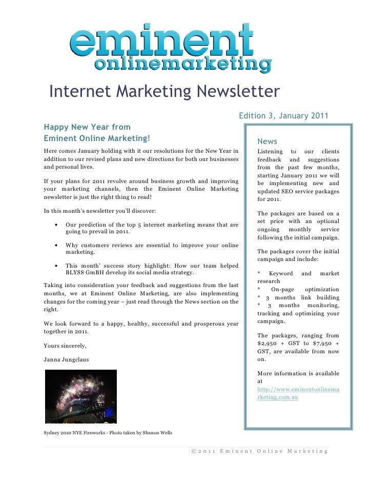 Internet Marketing Newsletter                                                                            Edition 3, Januar...