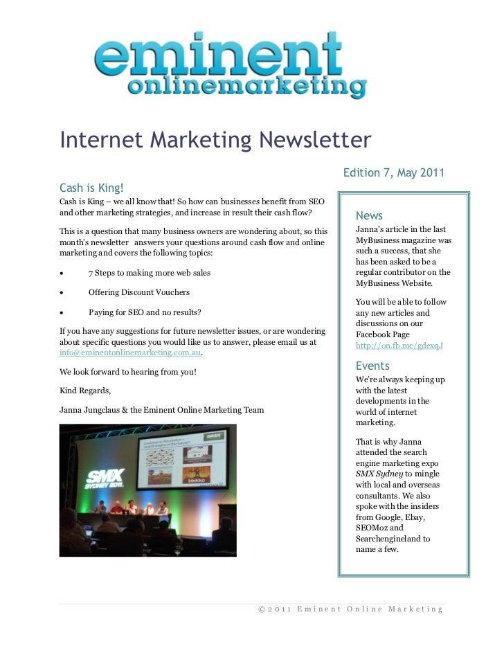 Internet Marketing Newsletter                                                                             Edition 7, May 2...
