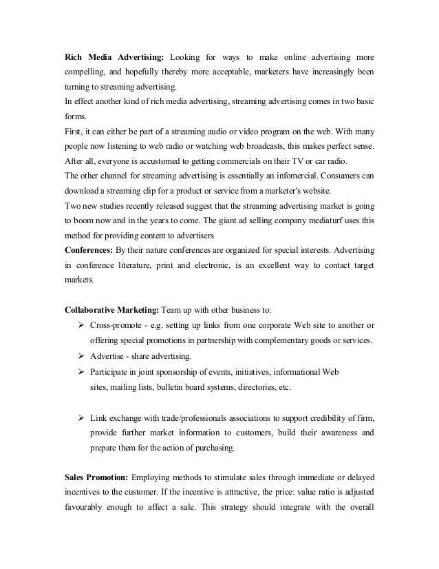 internet marketing project report pdf
