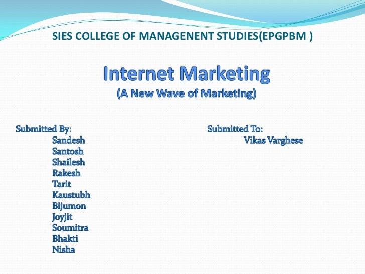 SIES COLLEGE OF MANAGENENT STUDIES(EPGPBM )