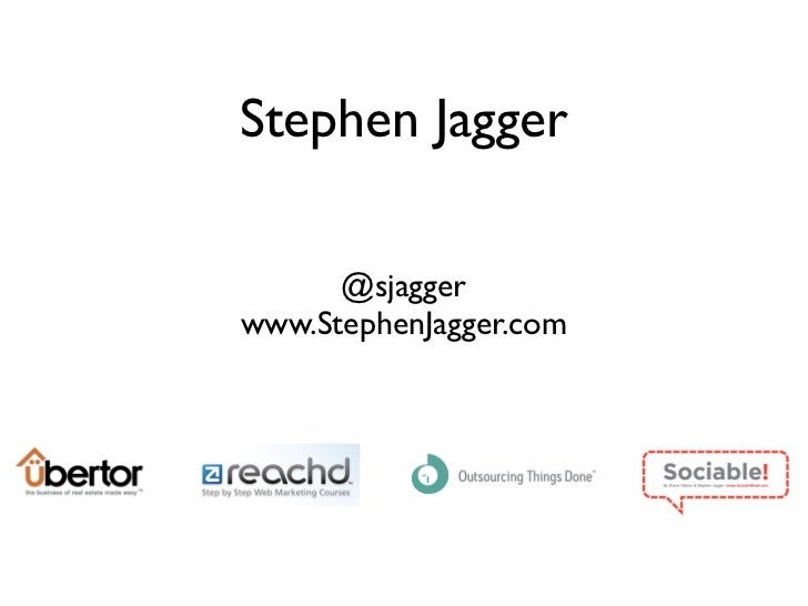 Stephen Jagger      @sjaggerwww.StephenJagger.com