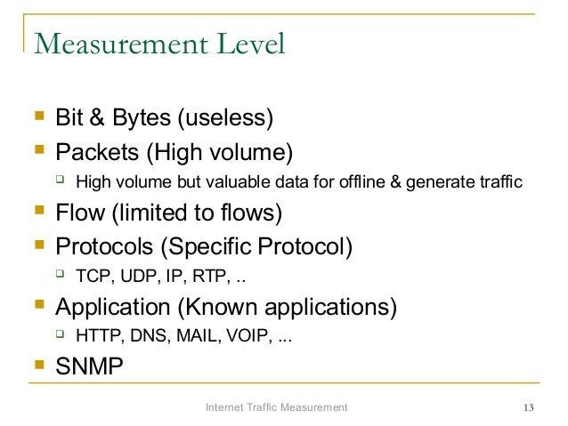 Internet Traffic Measurement 13 Measurement Level  Bit & Bytes (useless)  Packets (High volume)  High volume but valuab...